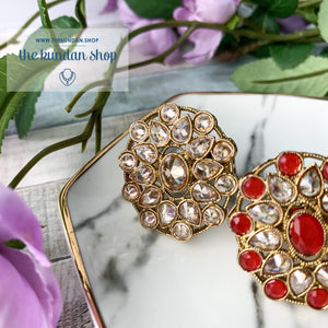Round Pattern - Polki Ring Ring THE KUNDAN SHOP Clear/Champagne