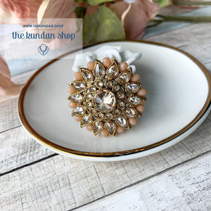 Out of Town - Polki Ring Ring THE KUNDAN SHOP Peach