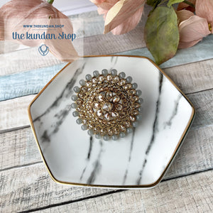 Cocktail Hour - Oversize Ring Ring THE KUNDAN SHOP Grey