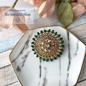 Cocktail Hour - Oversize Ring Ring THE KUNDAN SHOP Dark Green