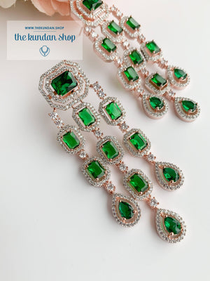 A Modern Twist in Rose Gold Earrings THE KUNDAN SHOP Emerald