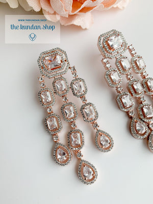 A Modern Twist in Rose Gold Earrings THE KUNDAN SHOP Clear