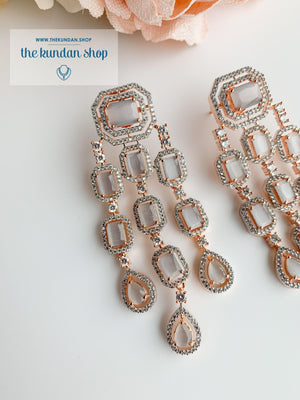 A Modern Twist in Rose Gold Earrings THE KUNDAN SHOP Grey