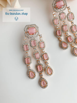 A Modern Twist in Rose Gold Earrings THE KUNDAN SHOP Pink