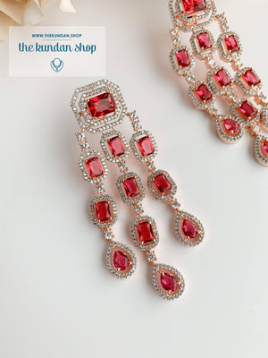 A Modern Twist in Rose Gold Earrings THE KUNDAN SHOP Ruby