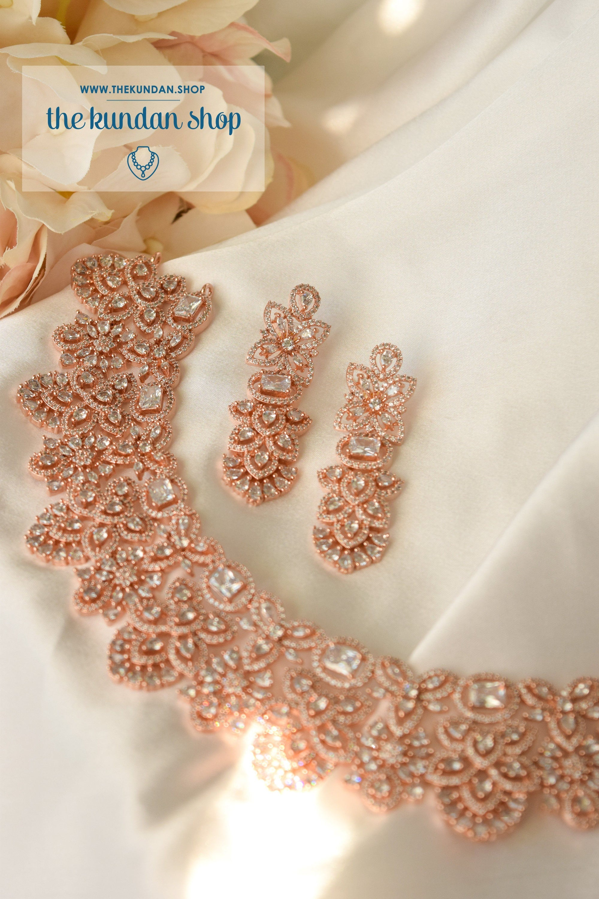 Embrace in Rose Gold Necklace Sets THE KUNDAN SHOP