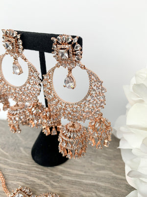 Radiance - Rose Gold, Earrings + Tikka - THE KUNDAN SHOP