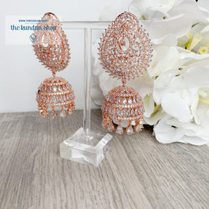 Reigning Queen in Rose Gold Earrings + Tikka THE KUNDAN SHOP Rose Gold + Clear Stone