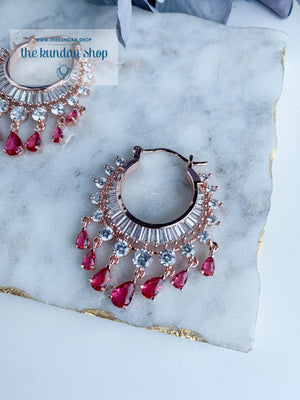 The Dainty Waali in Rose Gold Earrings THE KUNDAN SHOP Ruby