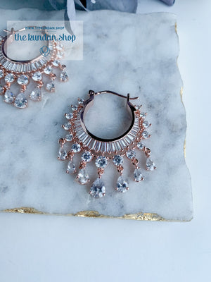 The Dainty Waali in Rose Gold Earrings THE KUNDAN SHOP Clear