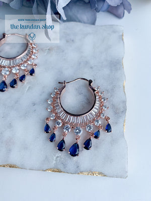 The Dainty Waali in Rose Gold Earrings THE KUNDAN SHOP Sapphire