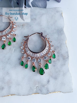 The Dainty Waali in Rose Gold Earrings THE KUNDAN SHOP Emerald