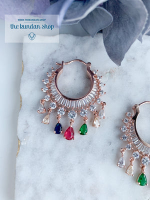 The Dainty Waali in Rose Gold Earrings THE KUNDAN SHOP Multi
