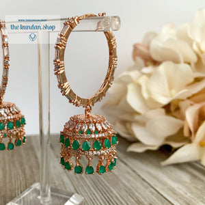 Bliss Baalis in Rose Gold & Emerald Earrings THE KUNDAN SHOP Style 1