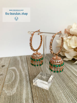 Bliss Baalis in Rose Gold & Emerald Earrings THE KUNDAN SHOP
