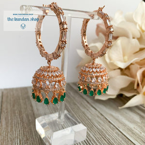 Bliss Baalis in Rose Gold & Emerald Earrings THE KUNDAN SHOP Style 2
