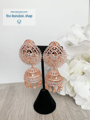 Reigning Queen in Rose Gold Earrings + Tikka THE KUNDAN SHOP