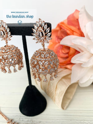 Ambiance in Rose Gold, Earrings + Tikka - THE KUNDAN SHOP