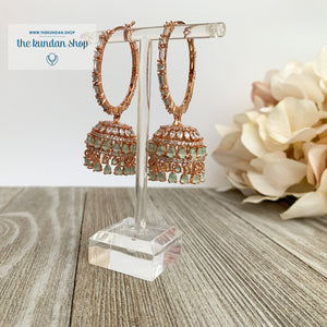 Bliss Baalis in Rose Gold & Mint Earrings THE KUNDAN SHOP