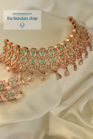 Nightfall in Rose Gold Necklace Sets THE KUNDAN SHOP