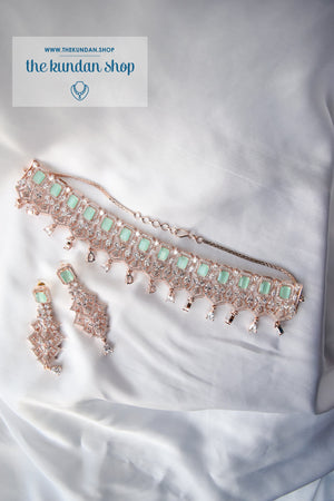 Daybreak in Rose Gold & Mint Necklace Sets THE KUNDAN SHOP