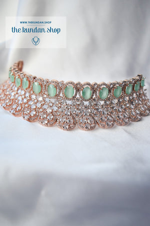 Crave in Rose Gold & Mint Necklace Sets THE KUNDAN SHOP