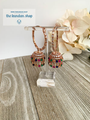 Bliss Baalis in Rose Gold & Multi Earrings THE KUNDAN SHOP Style 2