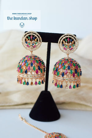 Allusive Jhumkis in Rose Gold & Multi Earrings + Tikka THE KUNDAN SHOP