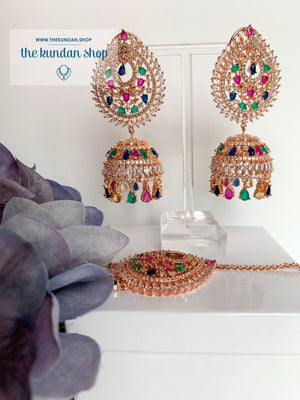 Reigning Queen in Rose Gold & Multi Earrings + Tikka THE KUNDAN SHOP
