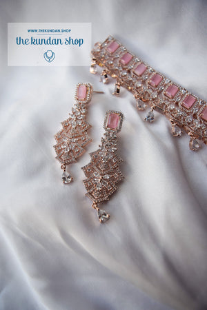 Daybreak in Rose Gold & Pink Necklace Sets THE KUNDAN SHOP