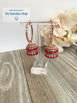 Bliss Baalis in Rose Gold & Ruby Earrings THE KUNDAN SHOP