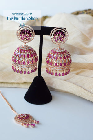 Allusive Jhumkis in Rose Gold & Ruby Earrings + Tikka THE KUNDAN SHOP
