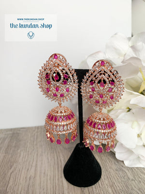 Reigning Queen in Ruby Earrings + Tikka THE KUNDAN SHOP