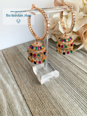 Bliss Baalis in Rose Gold & Multi Earrings THE KUNDAN SHOP