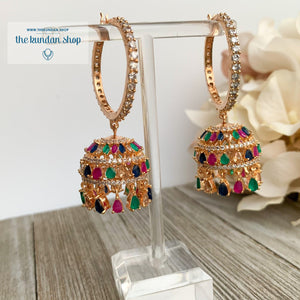 Bliss Baalis in Rose Gold & Multi Earrings THE KUNDAN SHOP Style 1