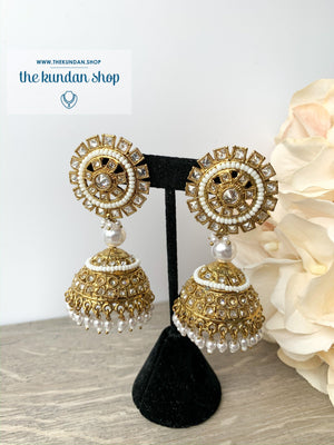 Pretty Picture Jhumkis, Earrings - THE KUNDAN SHOP