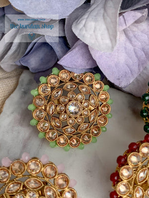 Round Petals Ring Ring THE KUNDAN SHOP Mint Green