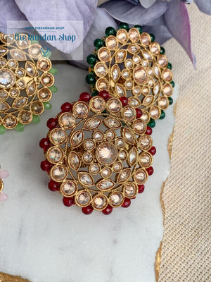 Round Petals Ring Ring THE KUNDAN SHOP Ruby
