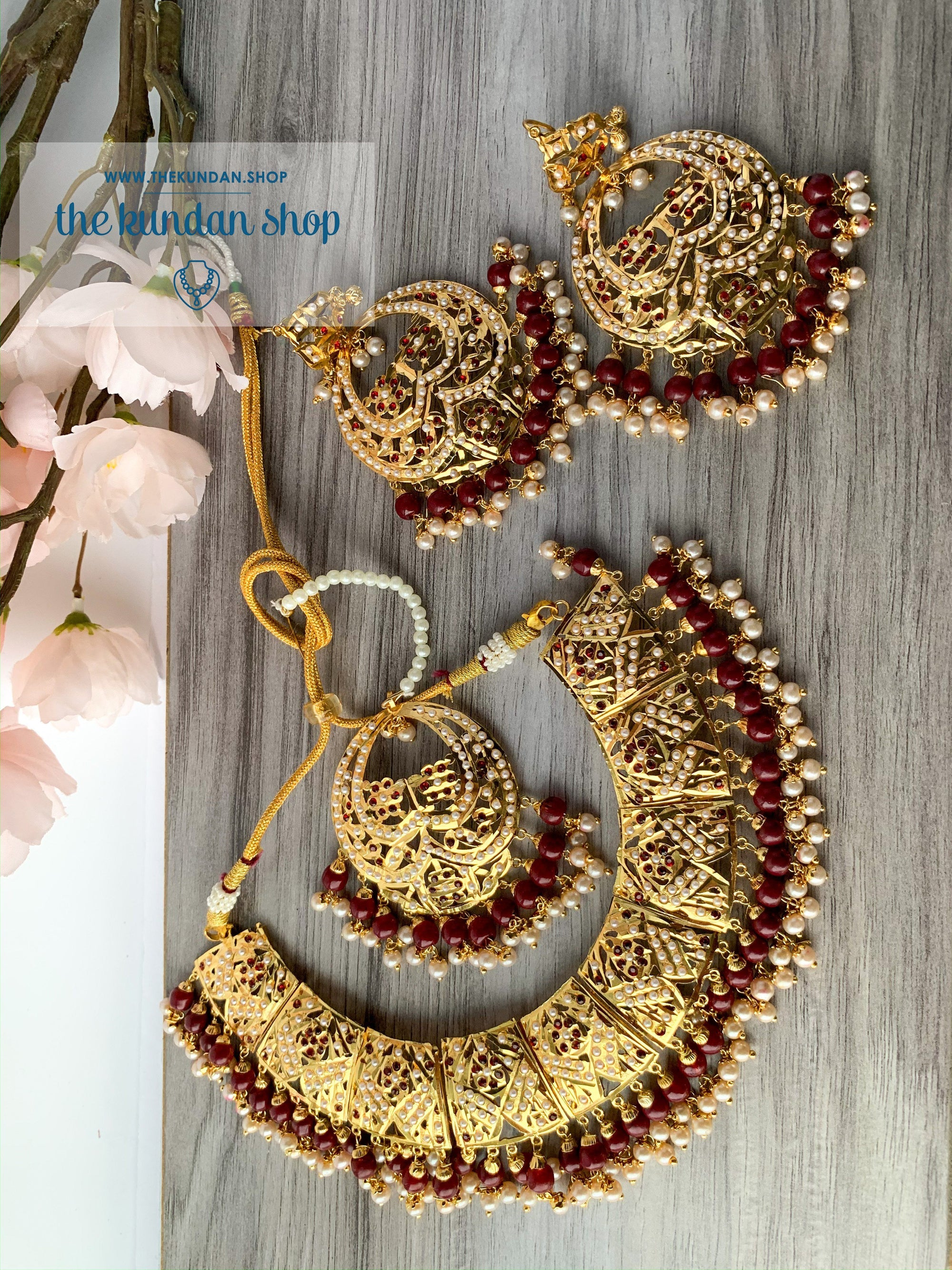 Promised Ones in Ruby, Necklace Sets - THE KUNDAN SHOP