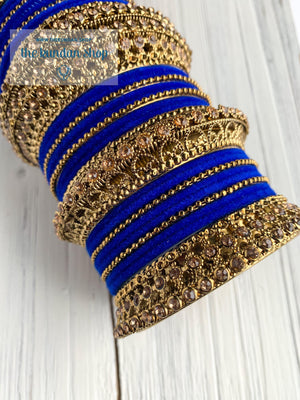 Royal Blue Velvet & Bronze Bangle Set Bangles THE KUNDAN SHOP