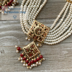Diamond Jadau - Ruby, Necklace Sets - THE KUNDAN SHOP