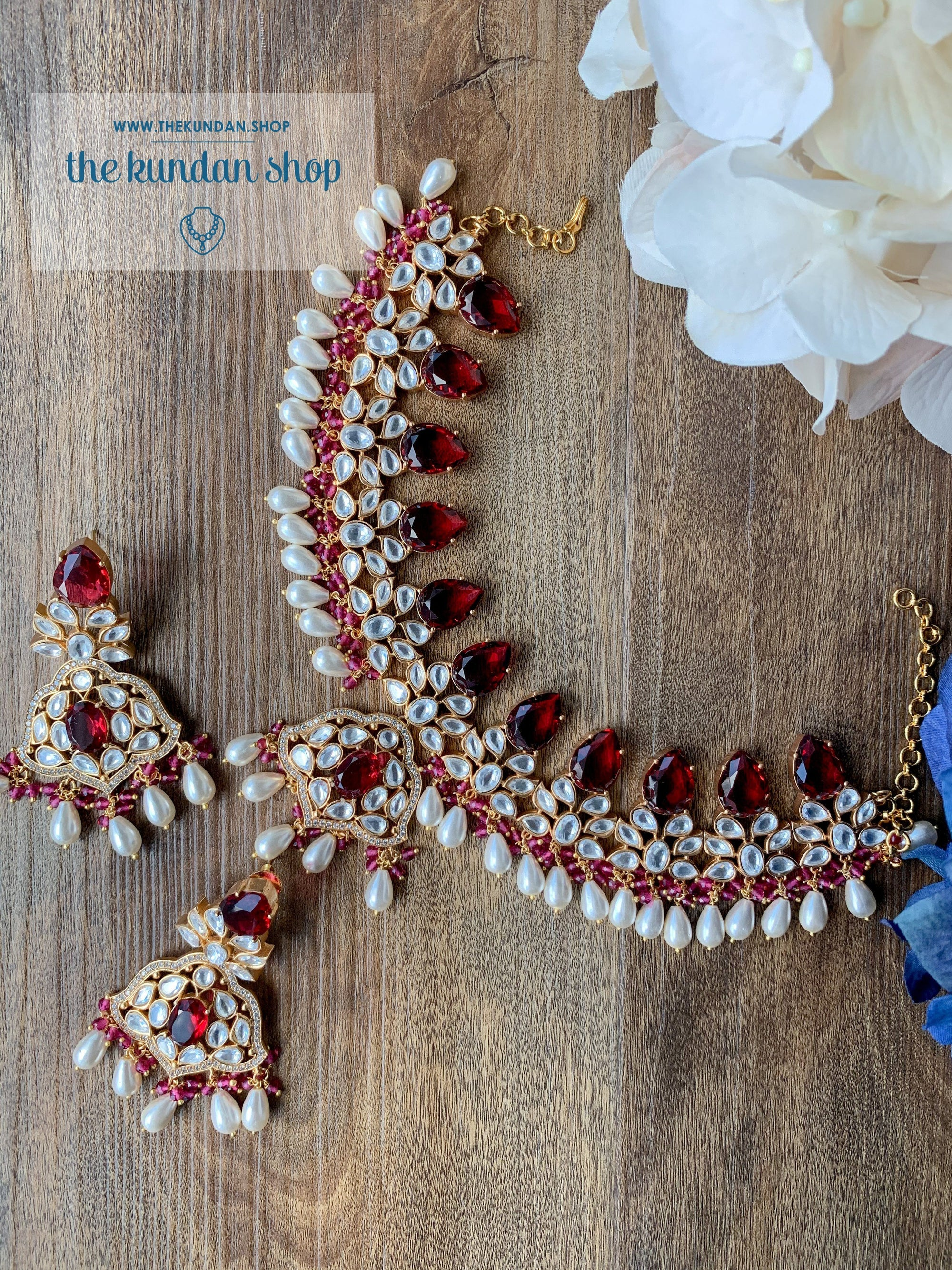 Intentional in Ruby Kundan Necklace Sets THE KUNDAN SHOP