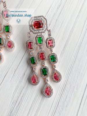 A Modern Twist in Rose Gold Earrings THE KUNDAN SHOP Ruby & Green