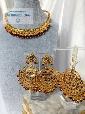 Traditional Hasli in Ruby Necklace Sets THE KUNDAN SHOP