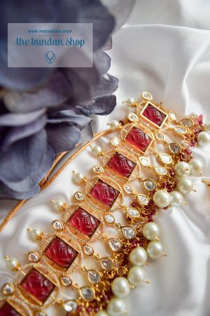 Royal Castle in Ruby Necklace Sets THE KUNDAN SHOP