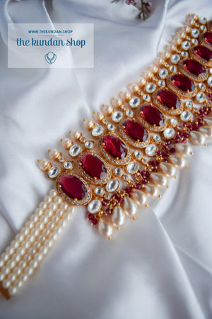 Lavish Kundan in Ruby Necklace Sets THE KUNDAN SHOP