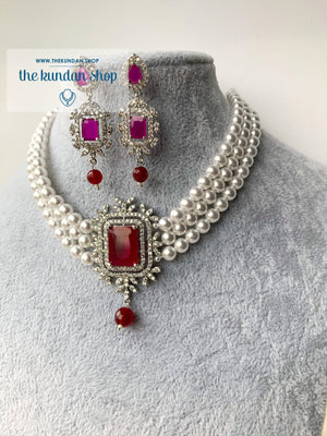 After Hours in Ruby, Necklace Sets - THE KUNDAN SHOP