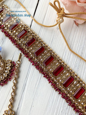 Poised in Ruby Necklace Sets THE KUNDAN SHOP