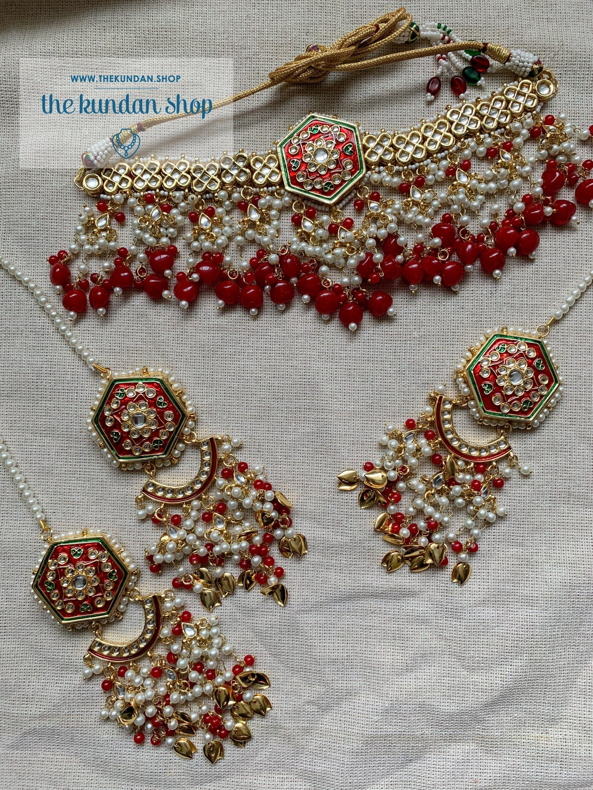 Ethereal in Ruby Red Necklace Sets THE KUNDAN SHOP