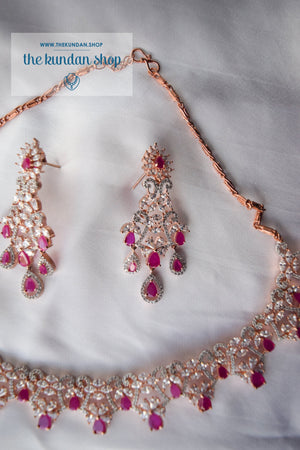 Angelic in Rose Gold & Ruby Necklace Sets THE KUNDAN SHOP